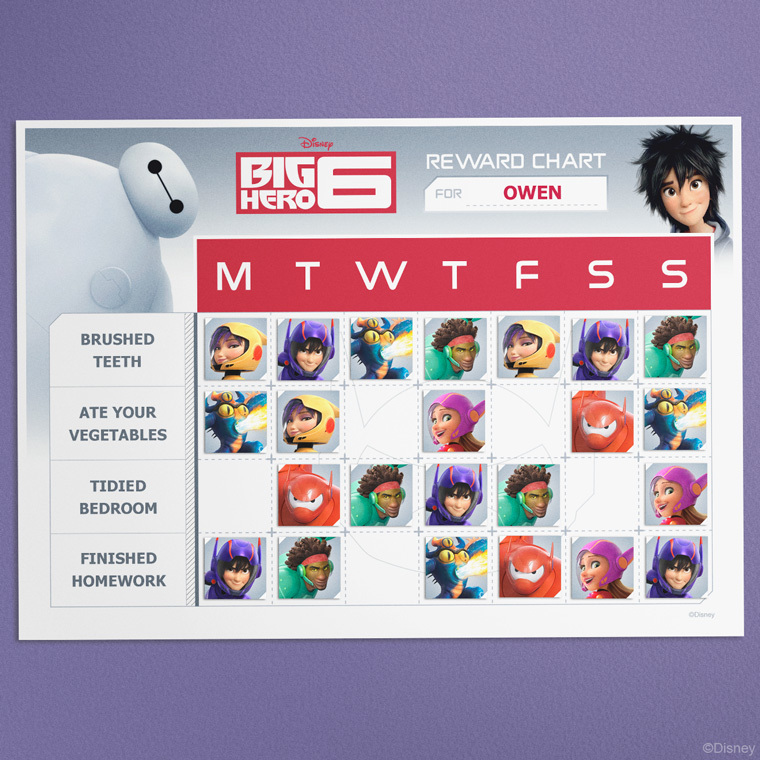 Big Hero 6 Reward Chart Craft