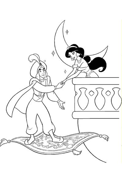 Coloriage Aladdin au balcon de Jasmine