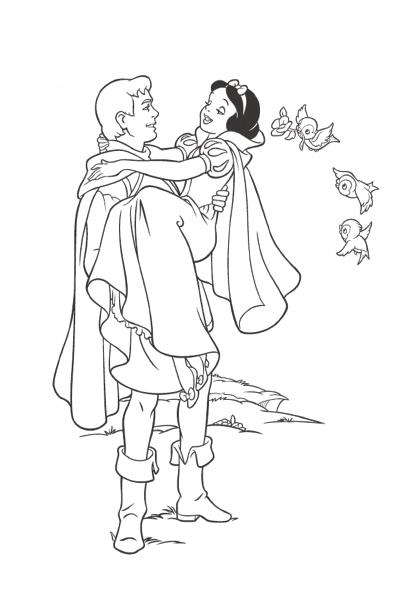 Coloriage blanche neige et le prince disney coloriages fr - Prince et princesse dessin ...