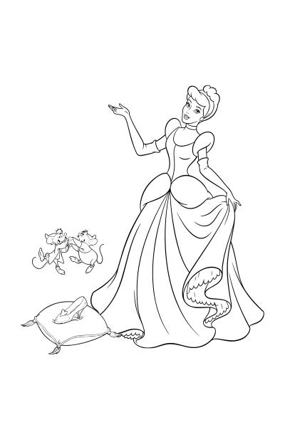 Coloriages cendrillon disney coloriages fr - Dessin princesse disney ...