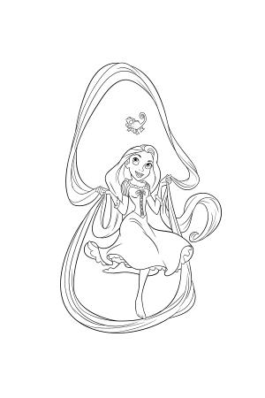 Coloriage les princesses disney avec les dessins en ligne - Princesse raiponce a colorier ...