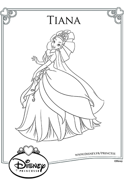 Coloriage la robe de tiana disney coloriages fr - Tiana coloriage ...