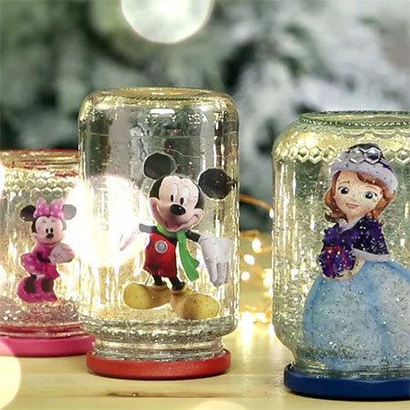 Basteln: Disney Junior Schneekugeln