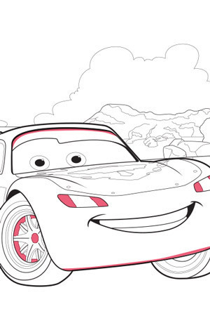 Lightning McQueen Scene Colouring Page