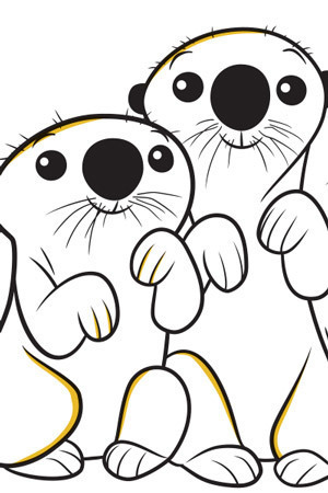 Otters Colouring Page
