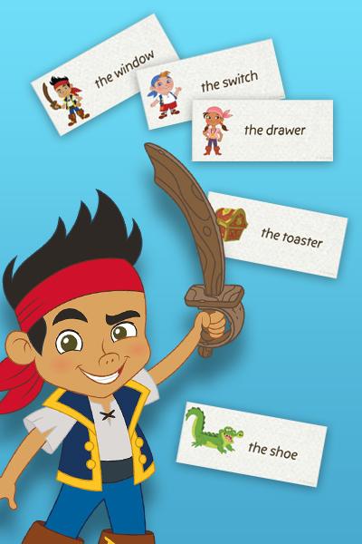 Etiquettes en anglais de Jake et les pirates du pays imaginaire
