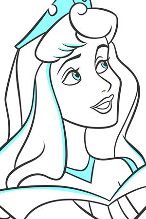 Aurora and Samson Colouring Page