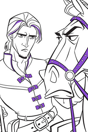 Flynn and Maximus Colouring Page
