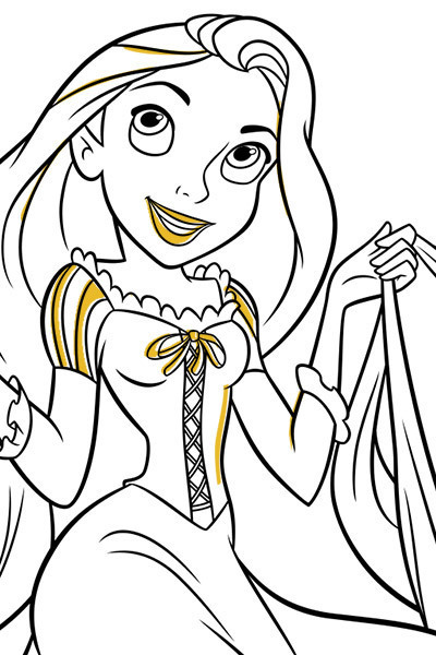 Rapunzel Skipping Colouring Page