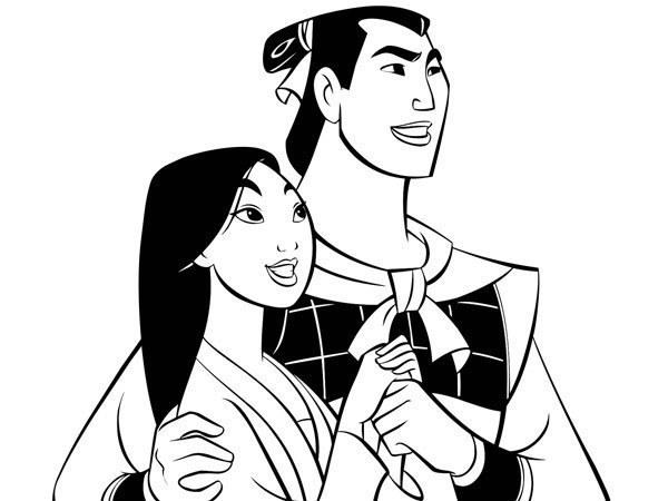 Mulan - Coloriage Mulan et Shang