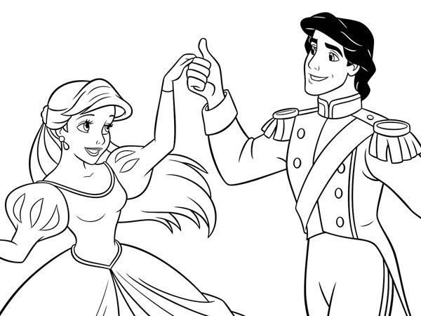 Ariel - Coloriage Ariel et Eric dansent