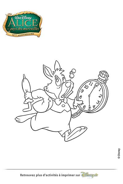 Coloriage le lapin blanc fr disney coloriages fr - Lapin alice au pays des merveilles en retard ...