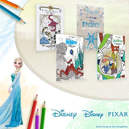 Une panoplie de coloriages anti-stress Disney et Disney/Pixar à gagner !