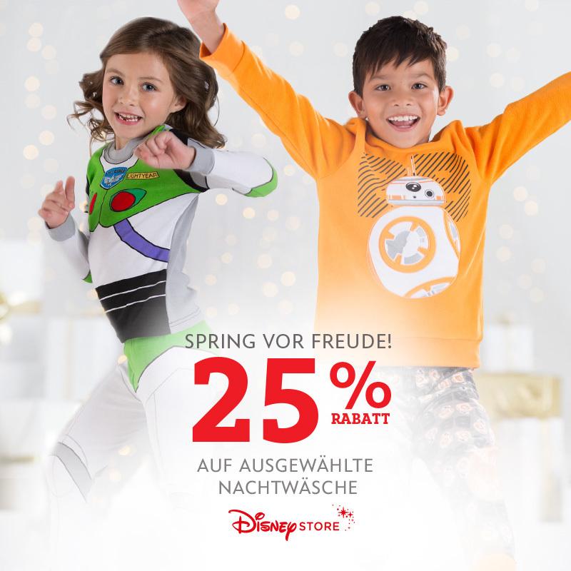 25% auf Nachtwäsche im Disney Store.