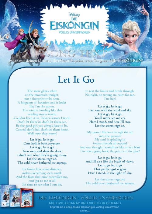 Die Eiskönigin - Let it Go - Song Text