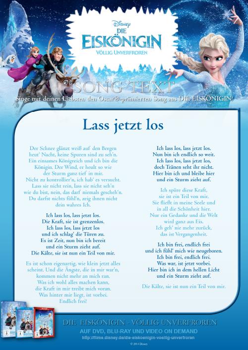 Die Eiskönigin - Lass jetzt los - Song Text