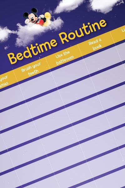 Printable yellow bedtime routine chart