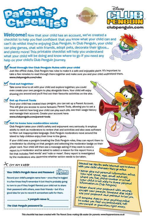 Club Penguin Parents' Checklist