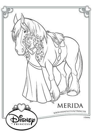 Merida And Angus Colouring Page