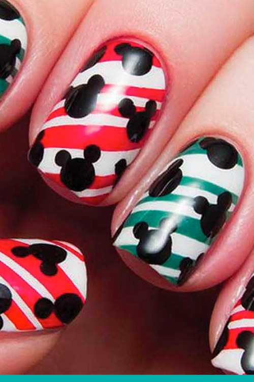 Mickey's Peppermint Swirl Nail Art
