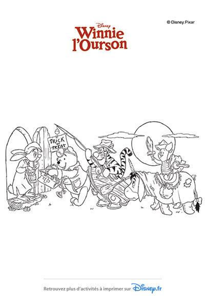 Coloriage Winnie et ses amis récoltent des bonbons