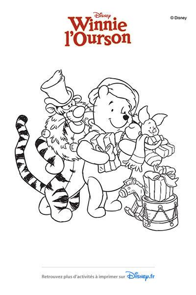 Coloriage En route pour Noël avec Winnie et ses amis